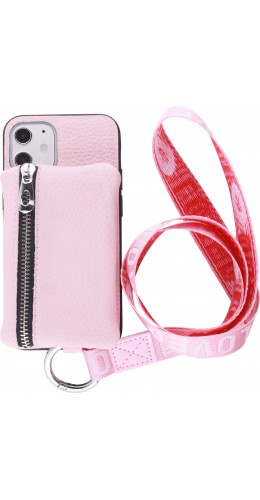 Coque iPhone 12 mini - Wallet Poche avec cordon rose