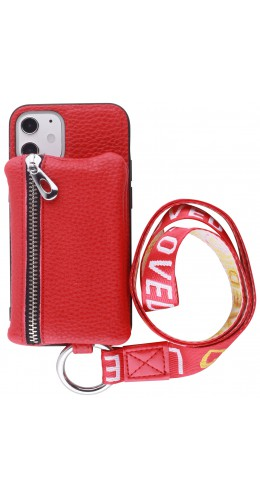 Coque iPhone 12 mini - Wallet Poche avec cordon  rouge