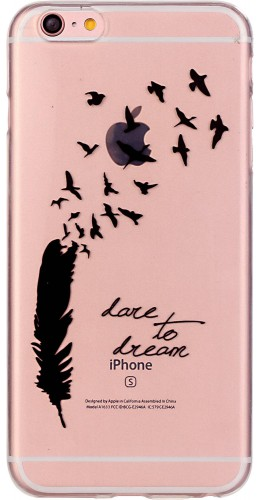 Coque iPhone 6 Plus / 6s Plus - Gel plume dare to dream
