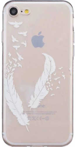 Coque iPhone 5/5s / SE (2016) - Transparent plumes blanches