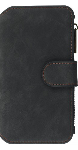 Coque iPhone 6/6s - Wallet Luxury leather noir