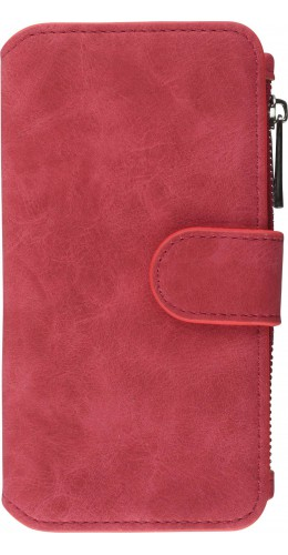 Coque iPhone 6/6s - Wallet Luxury leather rouge