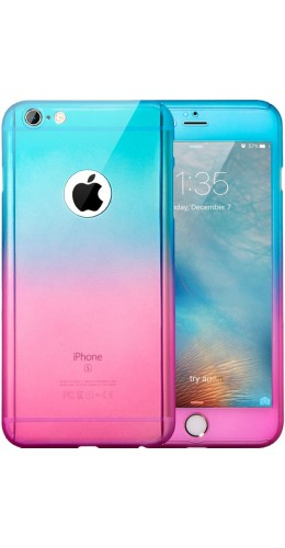 Coque iPhone XR - 360° Full Body Gradient bleu rose