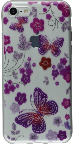 Coque iPhone 7 / 8 - Gel Shine papillons fleurs