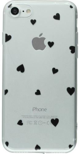 Coque iPhone 7 Plus / 8 Plus - Gel petit coeur noir