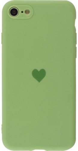 Coque iPhone 7 Plus / 8 Plus - Silicone Mat Coeur vert clair