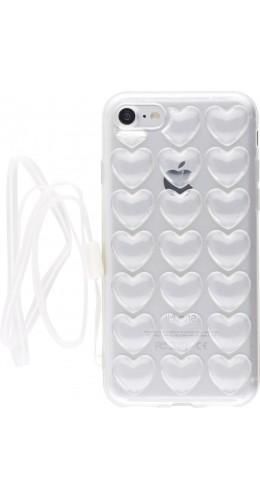 Coque iPhone 7 / 8 / SE (2020) - Gel coeurs 3D transparent