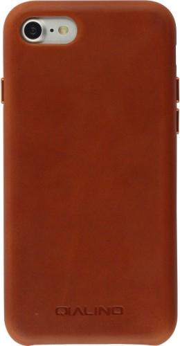 Coque iPhone 7 / 8 / SE (2020) - Qialino cuir véritable brun clair