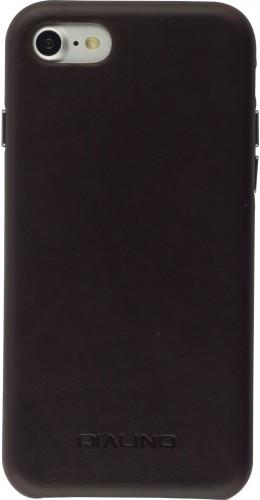 Coque iPhone 7 / 8 / SE (2020) - Qialino cuir véritable brun foncé