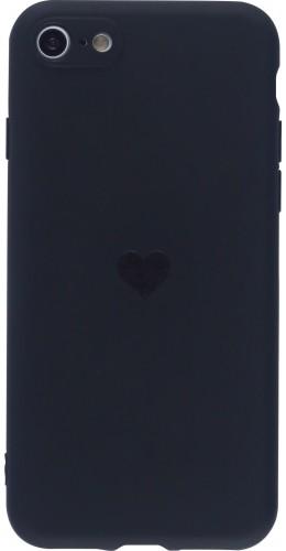 Coque iPhone 7 / 8 / SE (2020) - Silicone Mat Coeur noir