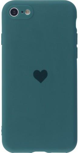 Coque iPhone 7 / 8 / SE (2020) - Silicone Mat Coeur vert foncé
