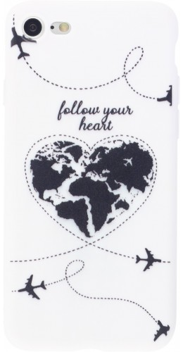 Coque iPhone 7 / 8 / SE (2020) - Silicone Mat Travel heart
