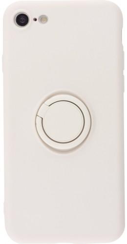Coque iPhone 7 / 8 / SE (2020) - Soft Touch avec anneau blanc cassé