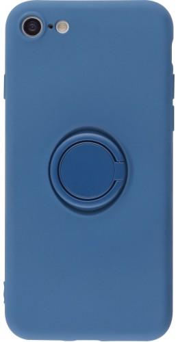 Coque iPhone 7 / 8 / SE (2020) - Soft Touch avec anneau bleu