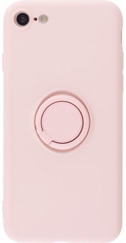 Coque iPhone 7 / 8 / SE (2020) - Soft Touch avec anneau rose