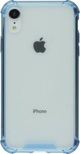Coque iPhone XR - Bumper Glass bleu clair transparent