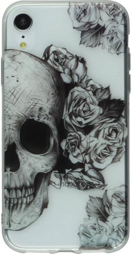 Coque iPhone X / Xs - Clear crâne roses