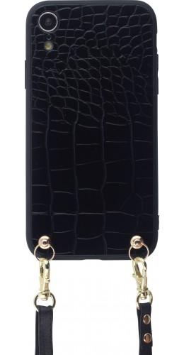 Coque iPhone XR - Croco avec lanière noir