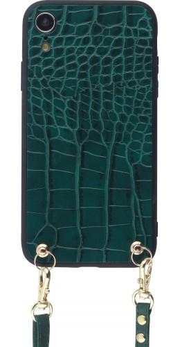 Coque iPhone XR - Croco avec lanière vert