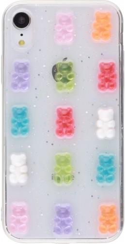 Coque iPhone XR - Gel Bonbons Oursons 3D
