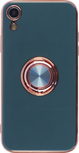Coque iPhone XR - Gel Bronze avec anneau gris vert