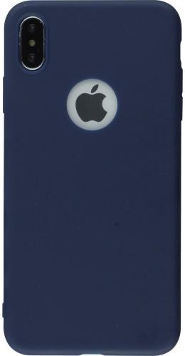 Coque iPhone XR - Silicone Mat bleu foncé