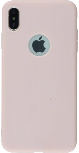 Coque iPhone XR - Silicone Mat rose clair