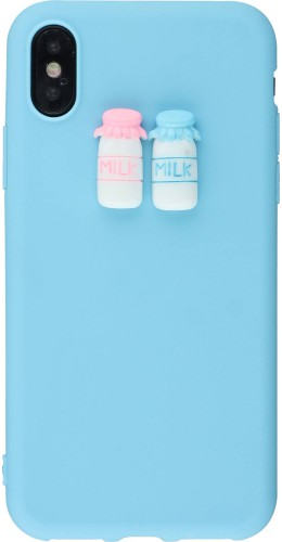 Coque iPhone X - 3D Milk bleu