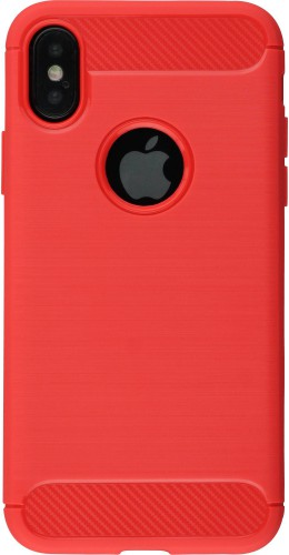 Coque iPhone X - Brushed Carbon rouge