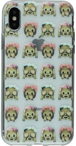 Coque iPhone X - Clear Emoji Monkey flowers