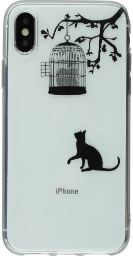 Coque iPhone X - Clear Logo chat cage