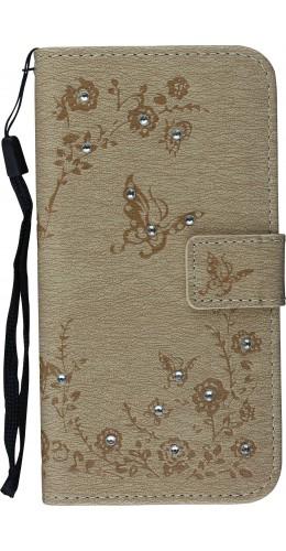 Fourre iPhone X / Xs - Flip Diamond butterfly beige