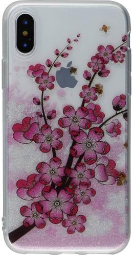 Coque iPhone XR - Gel Shine branche fleurs