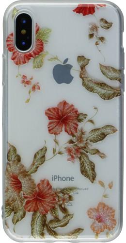 Coque iPhone X / Xs - Gel Shine fleurs or