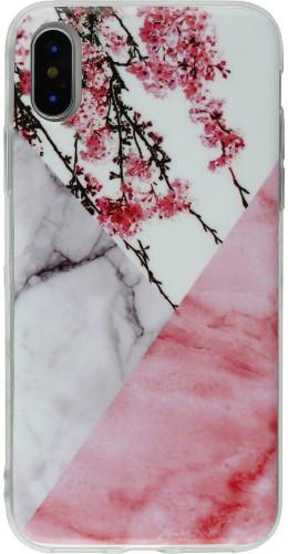 Coque iPhone X - Geometric Marble flowers