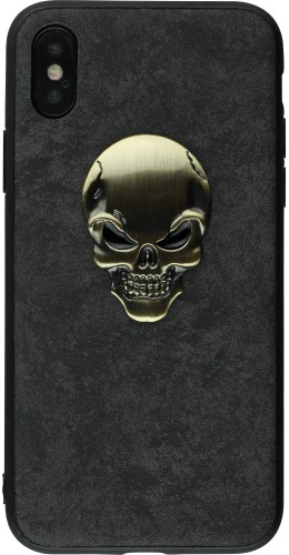 Coque iPhone X - Gold Skull noir