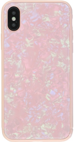 Coque iPhone X / Xs - Granit Glass rose