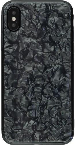Coque iPhone X / Xs - Granit Glass  noir