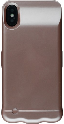 Coque iPhone X / Xs - Power Case batterie externe or rose