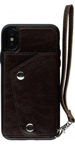 Coque iPhone X - Side Wallet brun
