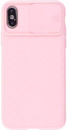 Coque iPhone X / Xs - Caméra Clapet rose clair