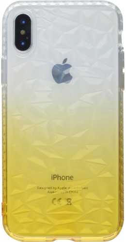Coque iPhone X / Xs - Diamond 3D jaune