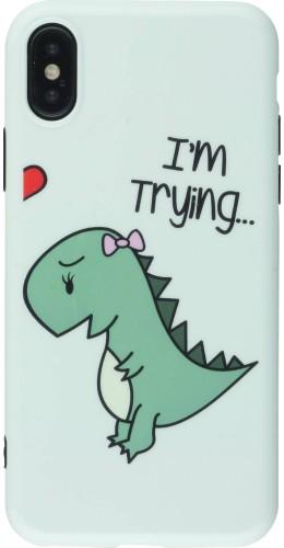 Coque iPhone X / Xs - Dino hug girle