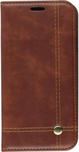 Coque iPhone XR - Flip Retro Élégant brun