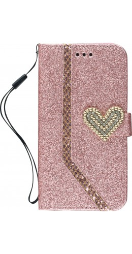 Coque iPhone X / Xs - Flip Strass line big heart rose clair
