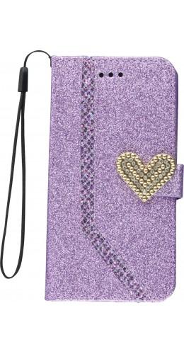 Coque iPhone X / Xs - Flip Strass line big heart violet