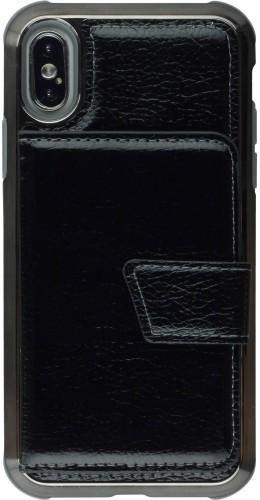 Coque iPhone X / Xs - Flip métalique miroir noir