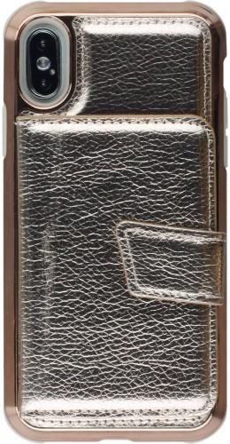 Coque iPhone X / Xs - Flip métalique miroir or rose