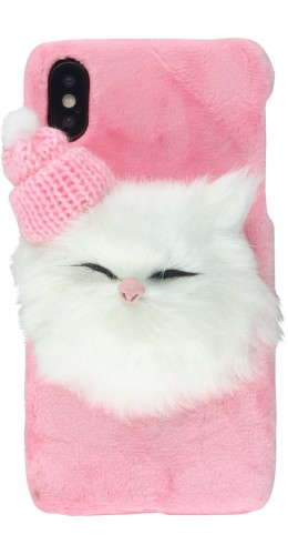 Coque iPhone X / Xs - Fluffy chat 3D rose