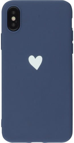Coque iPhone XR - Gel coeur bleu